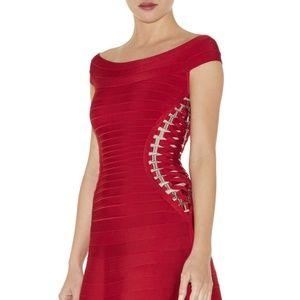 Herve Leger bandage dress with A-line skirt.